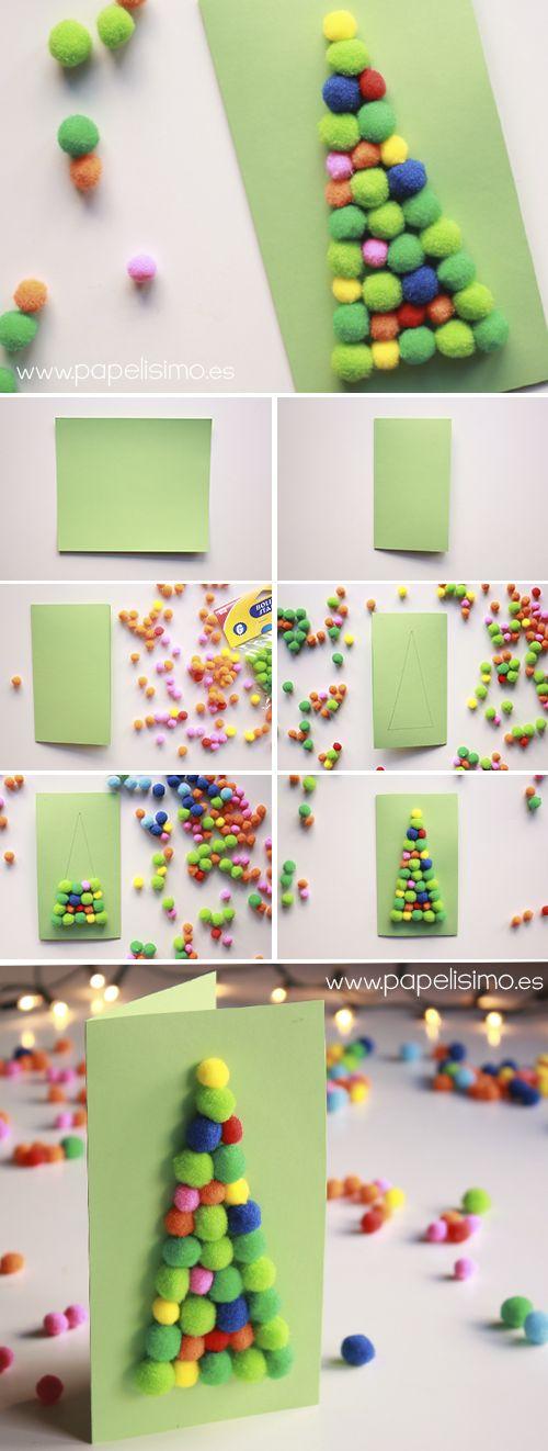 Tarjetas navide as con pompones para ni os http - Como hacer manualidades navidenas para ninos ...