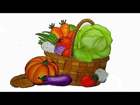 How To Draw Vegetables Basket Step By Step With Oil Pastel