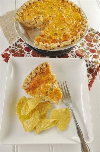 Enchilada Quiche! Mmmm, use ready-made pie crust to cut down on time! Delicious dish!