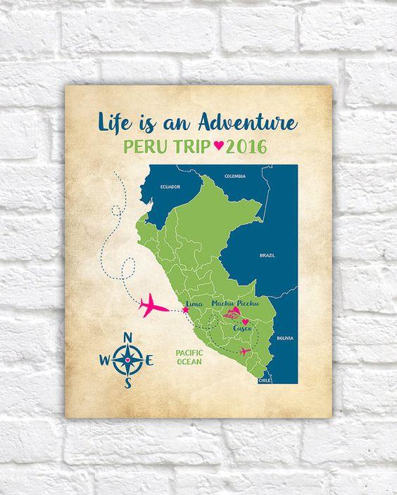 Custom Peru Map Machu Picchu Cusco Lima Peruvian Trip Inca Empire – Peru Travel Map