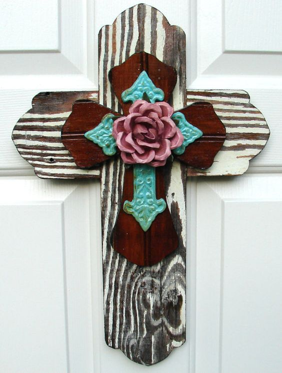 PC020a Rustic White, Brown, and Turquoise Stacked Cross with Pink Rose...........from DiaMorDecor
