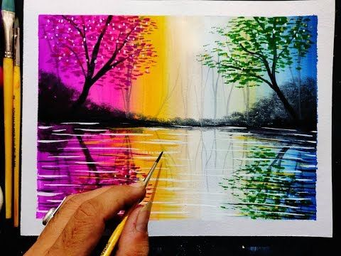 Beautiful Scenery Painting Step By Step For Beginners Landscape Painting Tutorial Beautiful Scenery Paintings Scenery Paintings Landscape Painting Tutorial