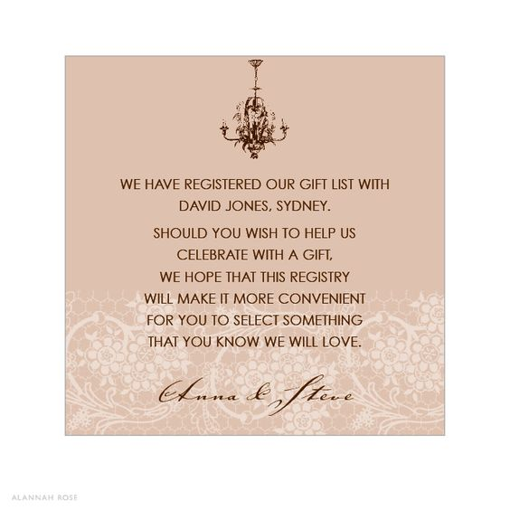 Gift Registry Cards In Wedding Invitations: Gifts, Invitation Wording And Chandeliers On Pinterest