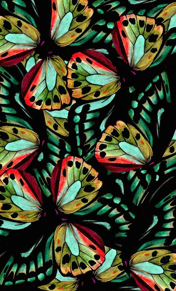 print pattern estampa like butterflies green aqua teal turquoise orange to put on ceramics: