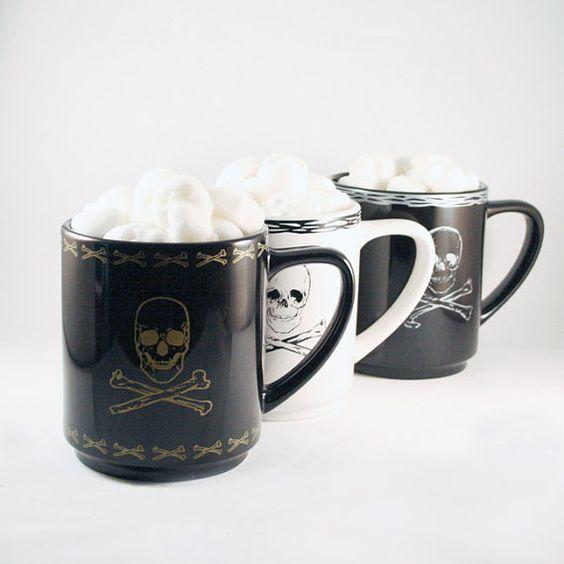 Sugar Cube Skulls & Skull and Crossbones Mug   Gift by dembones, $27.00