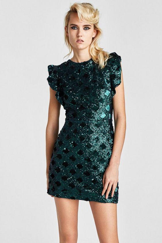 Robe Nouvel An : mini robe Zara - Album photo - aufeminin . ///#minirobe #robe #vertfoncé #zara #ah2017 #volants #lamé #glitter #nouvelan #tenuedesoiree #tenuedefete #Robepaschere #pascher #modepaschere