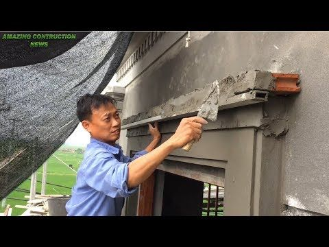 Creative Construction And Tips Rendering Sand And Cement Decorated Above Easy Window Youtube Cement Design Exterior Wall Design Floating Architecture