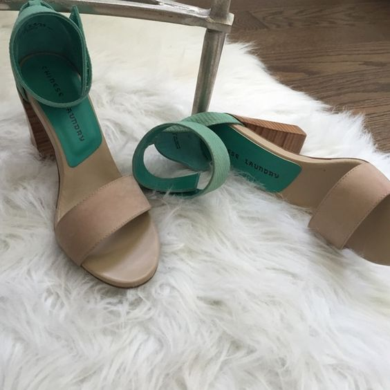 Chinese Laundry Heels Chic Chinese Laundry size 8.5 - Nubuck Natural/Teal heels. New and Perfect for summer! ⛱ Chinese Laundry Shoes Heels