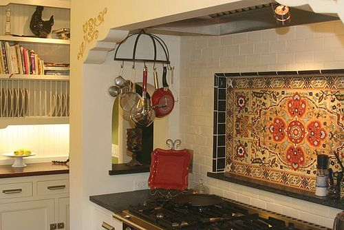 Rustic Style Kitchen with Spanish Tiled Splash Back