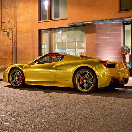 Golden 458 Spider  Follow @Italian_MadWhips  Freshly Uploaded To www.MadWhips.com  Photo by @carsofstuttgart