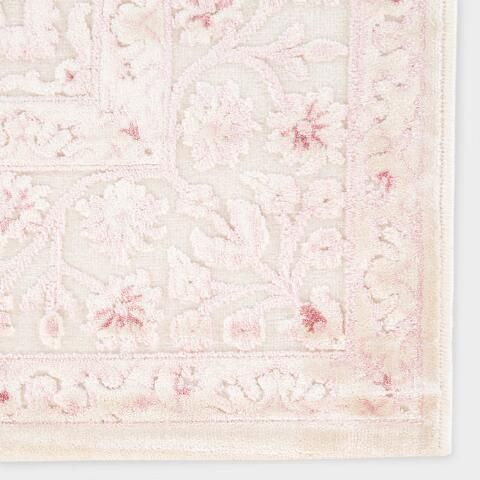 Pale Pink And White Medallion Hasna Area Rug Nursery Rugs Girl