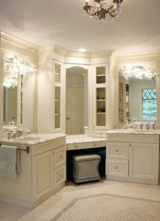 All White Bathroom With His And Hers Sink And Makeup Station Home Decor Pinterest Vanities