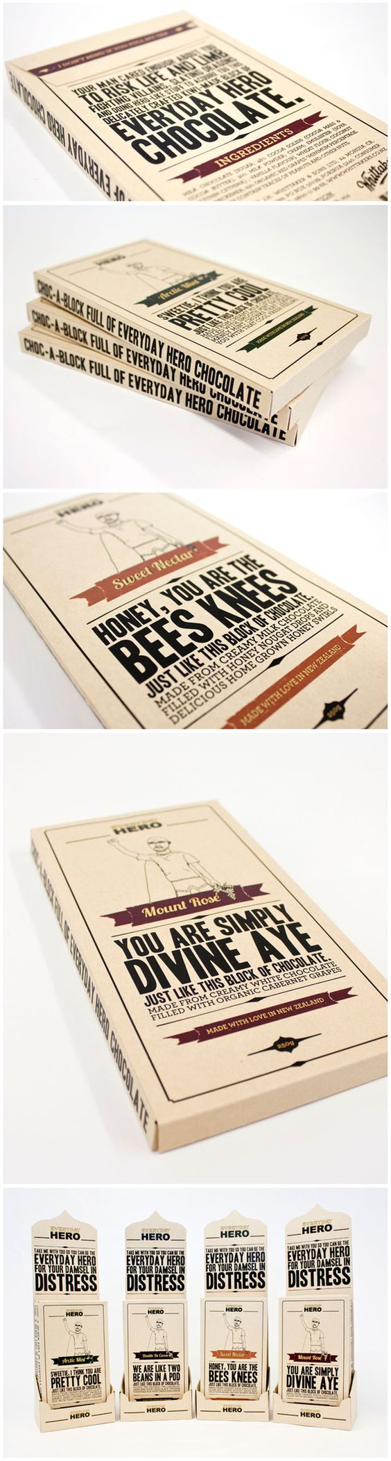 I would certainly buy some chocolate in order to get this awesome typographic package.