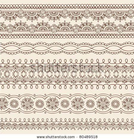 Hand-Drawn Henna Mehndi Tattoo Flower and Paisley Border Doodle Vector Illustration Design Elements by blue67design, via Shutterstock