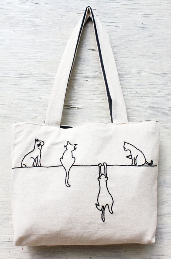 Alley cats tote / shoulder bag / minimalist line drawing / embroidery modern / reusable bags handmade on Etsy, $34.00: