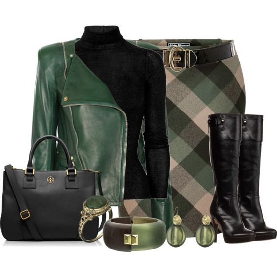 """Forest and Old Rose Plaid A-Line Skirt"" by hope-houston on Polyvore"