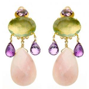 Fluorite Amethyst and Rose Quartz Earring  Price: $465.00