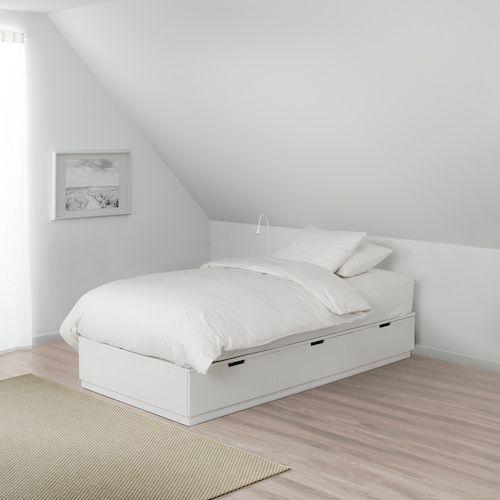 Nordli Bedframe Met Opberglades Wit 90x200 Cm Ikea In 2020 Bett Lagerung Bettrahmen Mit Schubladen Ikea Kinderzimmer Kleiderschrank