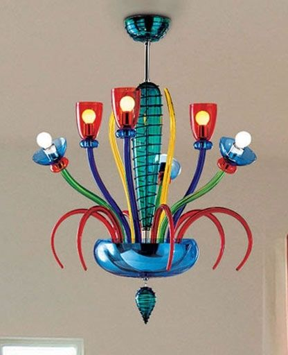 Murano L Chandelier by Marcello Furlan (handmade blown glass/chrome-plated metal)