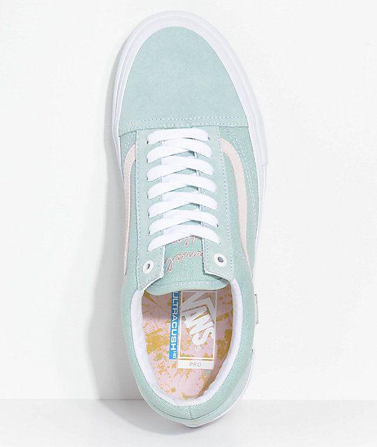 Vans Old Skool Pro Dan Lu Harbor Grey & Pearl Skate Shoes em