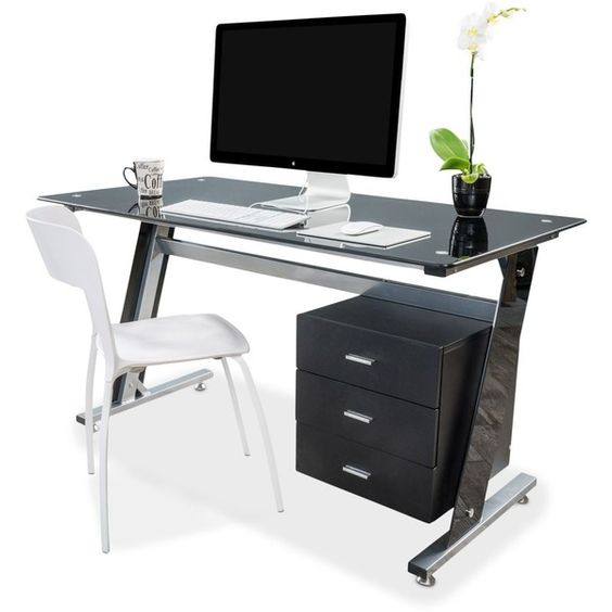 Thorpe Bk Computer Desk ($419) ❤ liked on Polyvore featuring home, furniture, desks, black, black desk, black furniture, black home office desk and black computer desk