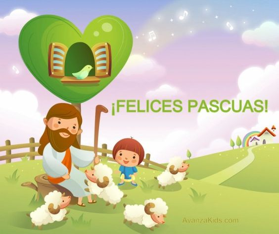 Imagenes Felices Pascuas Saludos Tarjetas Jesús con niños