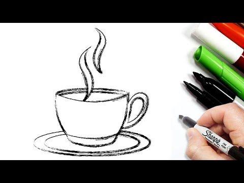 رسم سهل رسم فنجان قهوة بالرصاص تعليم الرسم رسومات بالرصاص للاطفال Easy Drawings Youtube Glassware Tableware