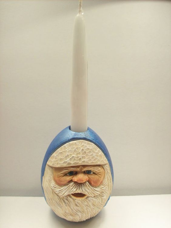 Festive christmas hand carved santa claus in by