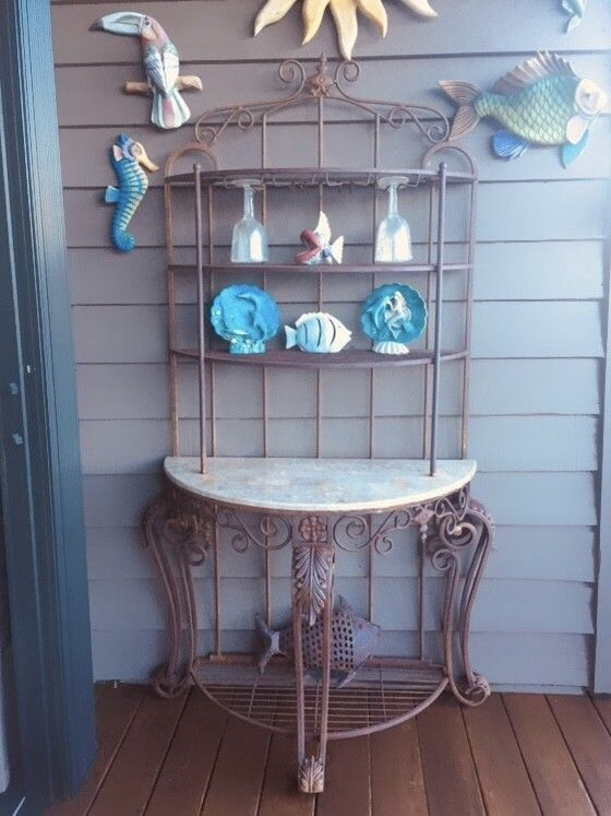 Rare Fancy Wrought Iron Bistro Bakers Rack 5 Teir Patio Marble Top