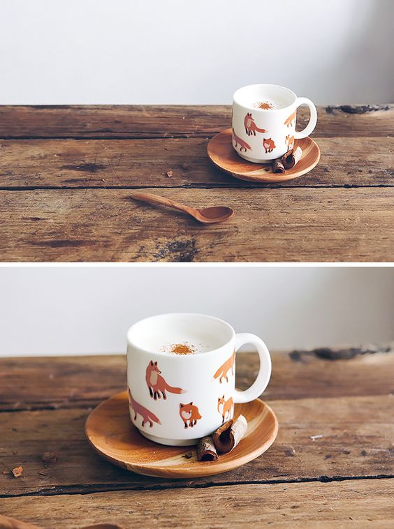 Love everything, including wooden plate and spoon! Foxes mug / Tasse renards - Bird on the wire www.botw.fr