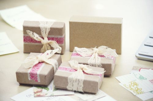 love the kraft box, deco tape and piece of lace!