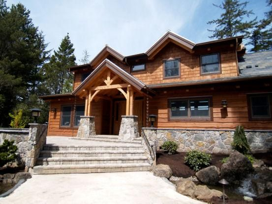 Timber Frame Home In Oregon With Cedar Shingle Siding