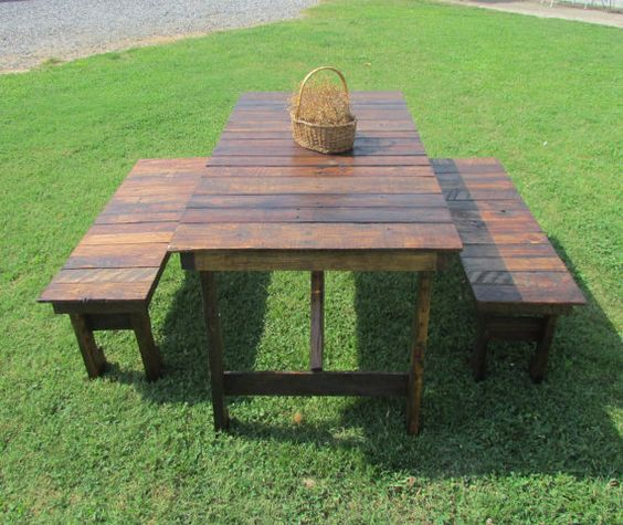 wood table bench set picnic table kitchen table outdoor table