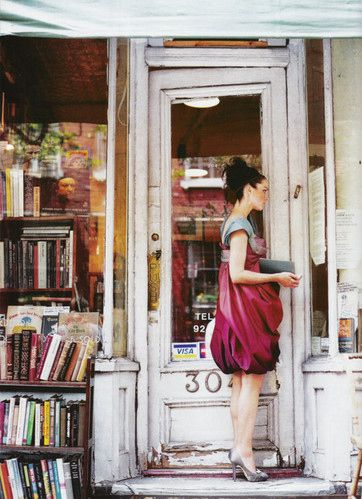 vintage bookstore and fairy girl in cranberry dress: