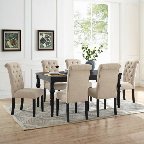 Evelin 6 Person Solid Wood Dining Set Solid Wood Dining Set Dining Room Sets Black Dining Room Solid oak dining room sets