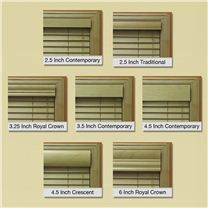 All the valance options for the Elite wood blind collection.