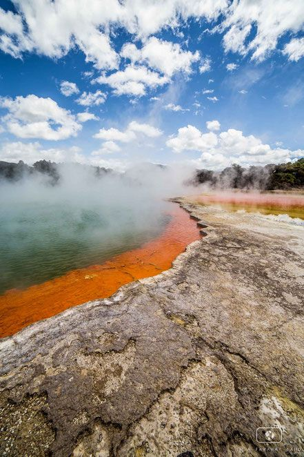 Champagne pool - a beautiful assemblage of yellows, oranges, blues and greens