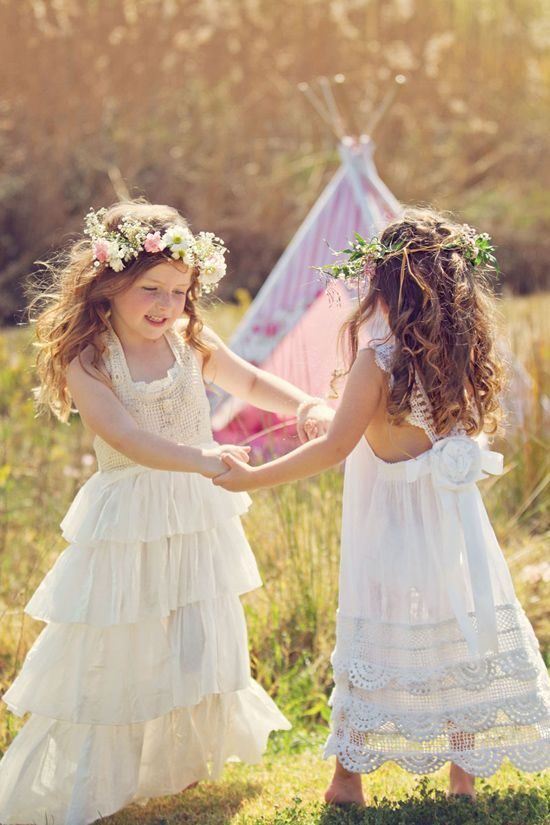 Absolutley Lovveeee. Flower girl dresses by Tea Princess. Love the flower hair pieces too. Cute idea for my flower girl H.R. <3