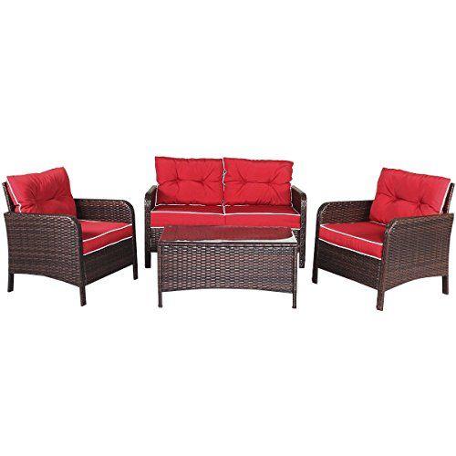 Oldzon 4 Pcs Outdoor Patio Rattan Wicker Furniture Set Sofa