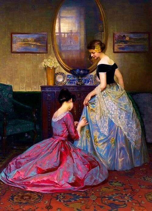 Viktor Schramm (Romanian, 1865 - 1929) 'The Fitting', 1900. Girls are wearing Mid 19th Century Gowns.: