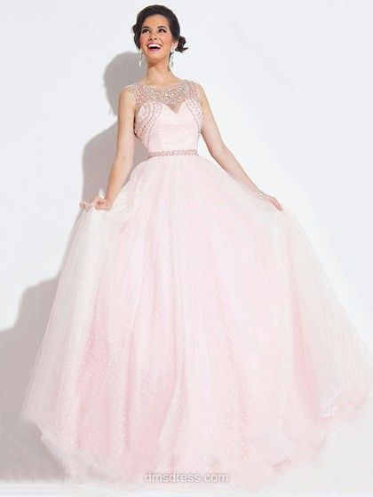 Pearl Pink Princess Scoop Neck Satin Tulle Beading New Arrival Prom Dress #02016533