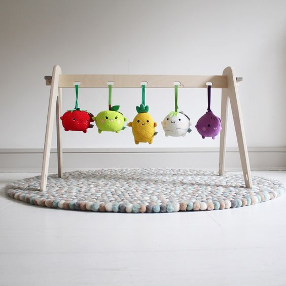 Handmade Wooden Baby Play Gym With Noodoll Fruit And