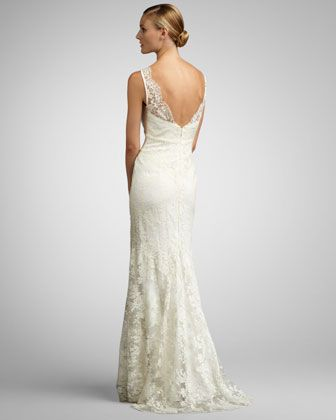 Nicole miller lace overlay gown neiman marcus wedding for Neiman marcus wedding dress