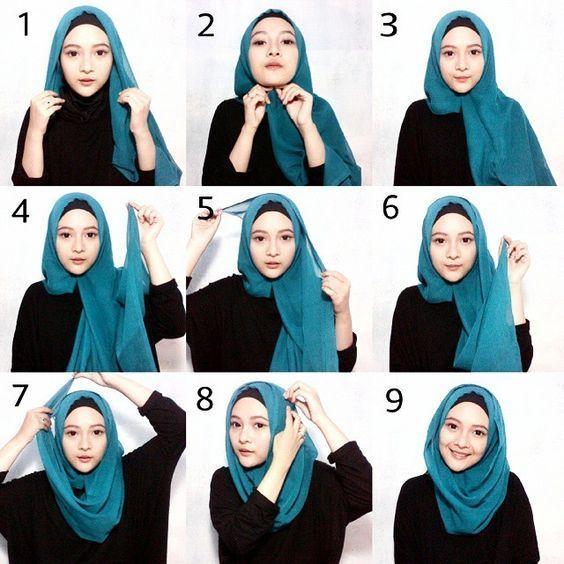 Tutorial Hijab Segi Empat Wajah Kotak Hidschab Hijab Mode Inspiration Hijab Stile