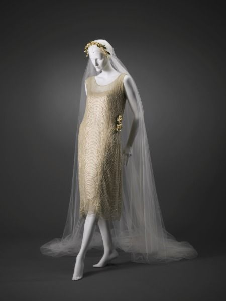 1921, possibly France - Wedding Dress: Dress, Slip, Veil, and Shoes - Silk, beads, faux pearls, leather, metal: