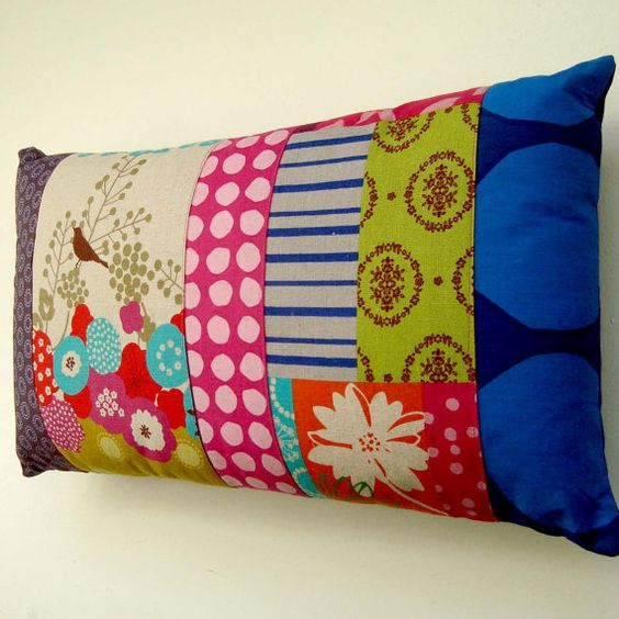 Modern Quilted Pillow Covers : Modern Patchwork Pillow / Cushion Cover - Bright contemporary spots and stripes with Birds ...