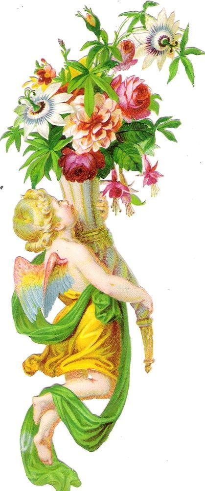 Oblaten Glanzbild scrap die cut chromo Engel  16cm angel cherub cornucopia Blume:
