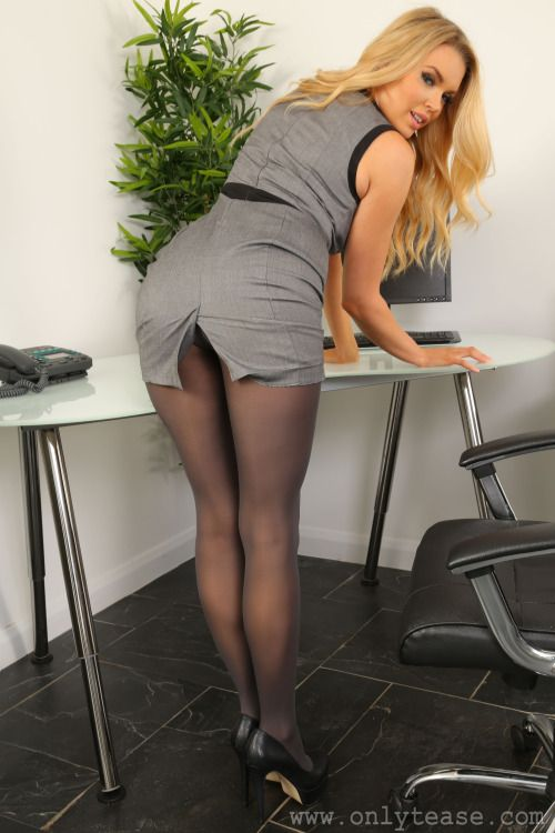 Amy smith blonde secretary in black stockings dessert