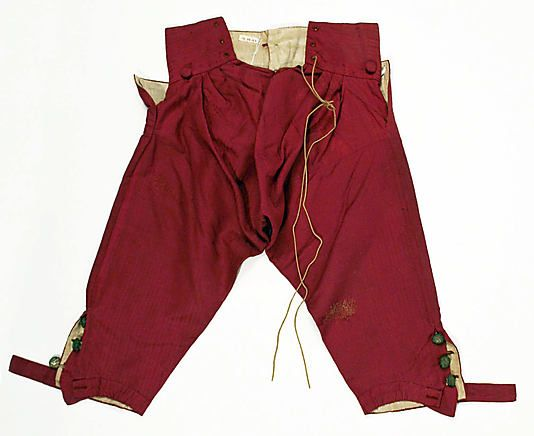 Breeches (back)  Date:     ca. 1780 Culture:     Italian Medium:     silk Dimensions:     a) 38 1/2in. (97.8cm) b) 21in. (53.3cm) Credit Line:     Roge...