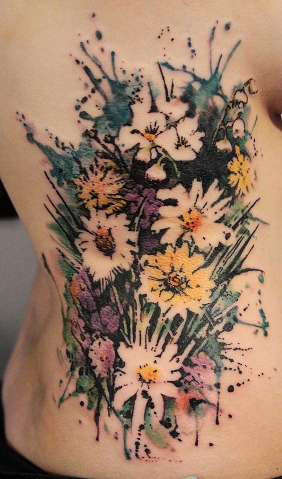Love the use of negative space with no definite lines | Watercolor Tattoo | Cuded